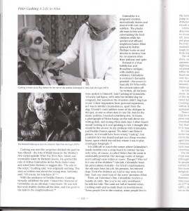 From Peter Cushing- A Life In Film, a page about the production of Amicus' Tales From The Crypt (1972) and how Cushing molded the role to make it his own.