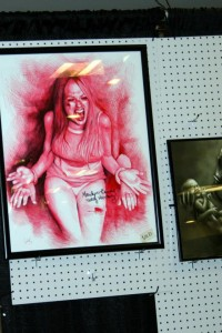 lots of great artists sell their work in the dealer rooms- here's an awesome portrait of Marilyn Burns from The Texas Chain Saw Massacre